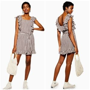 NWT Topshop Brown Gingham Ruffle Mini Dress